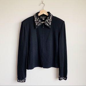 St. John Collection Black Knit Sweater Jacket 14